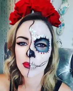 Day of dead makeup. Sugar skull. Makeup with jewels. Halloween