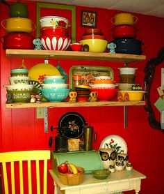 Enamelware, pyrex, and owls....kitchen heaven