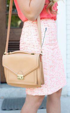 Pink + Coral Tweed Pencil Skirt