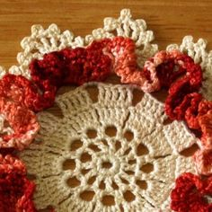Doily Set-Red Copper Brown-Cream w-Ruffled Coasters 1 Coaster Closeup rect 2704 816w 96