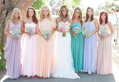 I LOVE THE 3 bridesmaids dresses to the left of the bride. Pastel bridesmaids dresses in different colors. Weddings and Events of Australia (WEOA) Mismatched Bridesmaid Dresses, Wedding Bridesmaids, Wedding Dresses, Romantic Dresses, Wedding Shoes, Bridesmaid Gowns, Bridesmaid Color, Bohemian Bridesmaid, Rainbow Bridesmaids