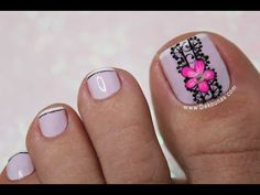YouTube Pedicure Designs, Pedicure Nail Art, Toe Nail Designs, Toe Nail Art, Cute Toe Nails, Fun Nails, Trendy Nail Art, Easy Nail Art, Cotton Candy Nails