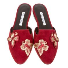 Listing Oscar de la Renta Butterfly Mules Crimson suede Oscar de la Renta Hexi mules with butterfly embroidery at tops and stacked heels // only worn around the house // last pic shows some suede that got rubbed off // runs slightly small - I'd say more of a 6.5 Oscar de la Renta Shoes