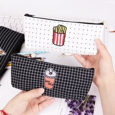 Lovely Food Pizza Fries Canvas Pencil Case Kawaii Stationery Storage Organizer Bag School Office Supply Escolar Papelaria