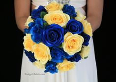 Royal Blue and Yellow Wedding Flowers.  Complete wedding flower package with Bride, Maid of Honor, Throw Bouquet, Groom and Bestman for only $100