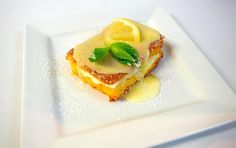 We have a new menu at the Hereford Steakhouse and we love tasting Chef Daniel's new creations.  There is always something that is sweet and fabulous on Chef Daniel's menus.  His latest creation is this beautiful Lemon Cake with cream.