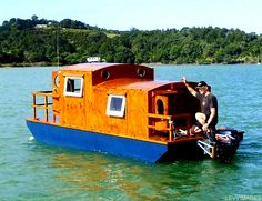 find this pin and more on boat construction the flying tortoise tiny houseboat - Small Houseboat