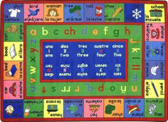 """The Lengualink Bilingual Carpet helps introduce children to a second language with this bilingual teaching tool. Pictures with both Spanish and English words. French Alphabet, Spanish Alphabet, Cat Flower, Classroom Carpets, Classroom Decor, Bilingual Classroom, Spanish Classroom, Bilingual Education, Indigenous Education"