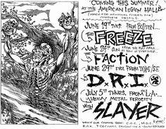 The Freeze, Th Faction, DRI, Slayer punk hardcore flyer Pushead