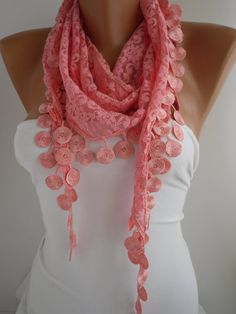 Pink Lace Scarf Shawl Headband  Cowl with Lace Edge by DIDUCI, $15.90