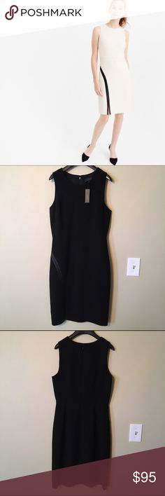 """Black J. Crew Sheath Dress w/ Faux Leather Accent """"This super flattering fitted sheath dress with an architectural faux-leather detail makes the chicest, smartest impression."""" - J. Crew; fitted silhouette; poly/spandex; back zip; lined. J. Crew Dresses Midi"""