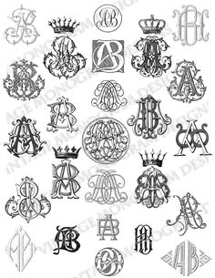 Custom monogram collection created using monograms from antique books, available through Etsy seller VintageMonogram.