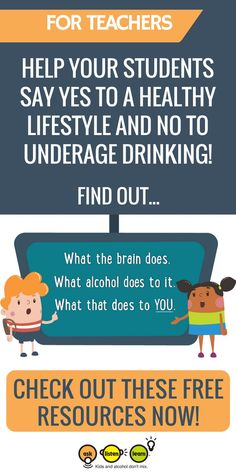 Calling all counselors middle school teachers and educational professionals Help your students say yes to a healthy lifestyle and no to underage drinking This free curric. Middle School Health, Middle School Teachers, High School, School Kids, Spin, Las Vegas, Health Education, Health Class, Physical Education