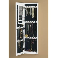 Wall Mirror With Storage mirrored jewelry armoire cabinet storage wall mount hang over the