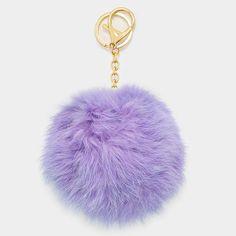 Large Rabbit Fur Pom Pom Keychain, Key Ring Bag Pendant Accessory - Lilac - Dempsey & Gazelle