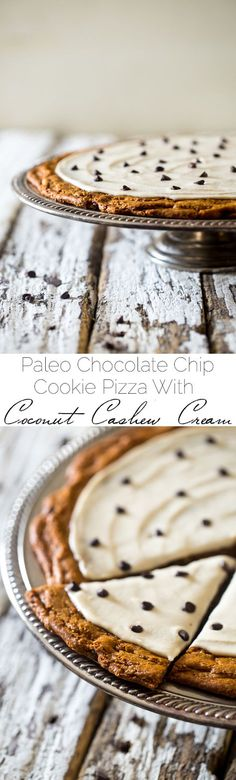 Paleo Cookie Pizza with Cashew Cream - Who needs paleo cookies when you could have a Paleo Cookie Pizza?! This chocolate chip cookie pizza is topped with cashew cream and is a gluten free dessert that is secretly healthy! | Foodfaithfitness.com | @Food Faith Fitness