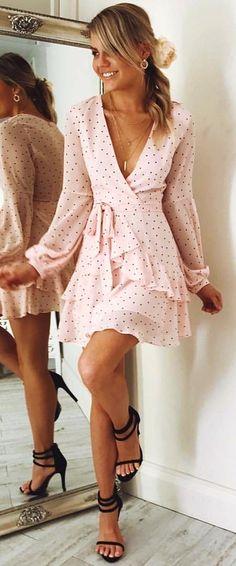 #fall #outfits Blush Polka Dot Dress + Black Sandals