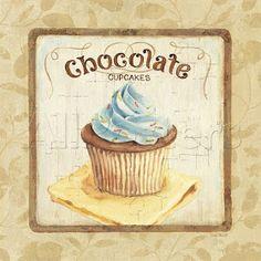 Sweet Cupcakes IV by Lisa Audit Chocolate Kitchen Decor Art Print Framed Cupcake Vintage, Images Vintage, Vintage Diy, Vintage Labels, Vintage Bakery, Vintage Teacups, Retro Images, Printable Vintage, Vintage Floral