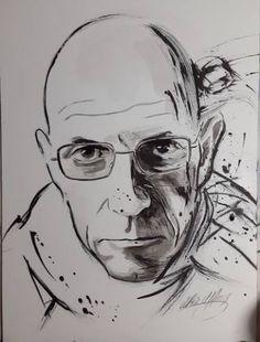 "Saatchi Art Artist Ulku Yilmaz; Drawing, ""MICHEL FOUCAULT"" #art"