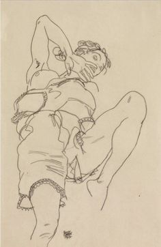 Egon Schiele - Woman in underclothes leaning backward, 1917. Black crayon on paper, 46.2 x 30.1 cm. (18 1/4 x 11 7/8 in.). @ Sotheby's Images, London