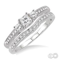 1/2 Ctw Diamond Wedding Set with 3/8 Ctw Princess Cut Engagement Ring and 1/10 Ctw Wedding Band in 14K White Gold