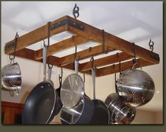 Reclaimed Wood Rustic pot Rack// Clarner Woodworks  http://www.clarnerwoodworks.com/reclaimed-wood/rusticpotrack.htm
