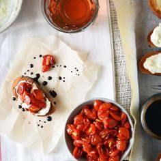 Ricotta and Goat Cheese Crostini with Candied Cherry Tomatoes and Balsamic Glaze