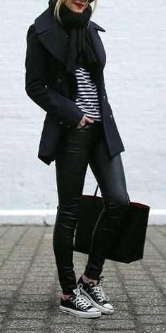 street style fall black stripes e