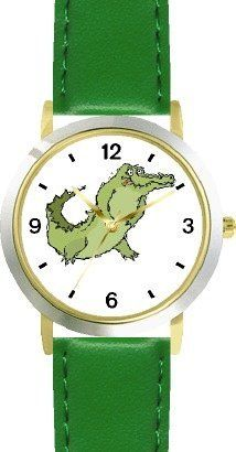 Alligator or Crocodile Cartoon Animal - WATCHBUDDY® DELUXE TWO-TONE THEME WATCH - Arabic Numbers - Green Leather Strap-Children's Size-Small ( Boy's Size & Girl's Size ) WatchBuddy. $49.95