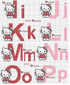 Artes e bordados da Sol: Monograma da Hello Kitty