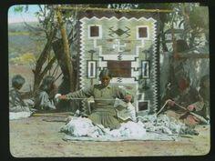 Lantern Slide of a Navajo weaver