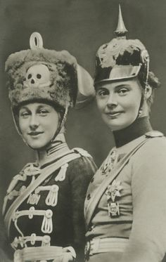 Princess Victoria Louise and Crown Princess Cecilie of Prussia in uniform.
