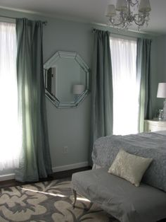 A small master bedroom has big style, thanks to the rug from Overstock.com. http://www.overstock.com/Home-Garden/nuLOOM-Handmade-Pino-Slate-Floral-Rug-83-x-11/6530613/product.html