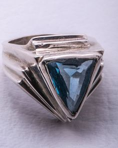Sterling #Silver & #Blue Cut Tanzinite Colored #Glass Modern #Ring Size 9 on #Etsy, $95.00
