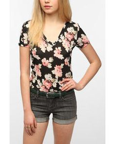 Urban Outfitters BDG Printed V-Neck Tee