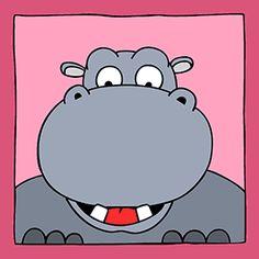 Vrolijk kinderschilderij van een nijlpaard. Leuk voor in de baby- of kinderkamer, maar ook erg leuk om als geboortecadeau te geven.