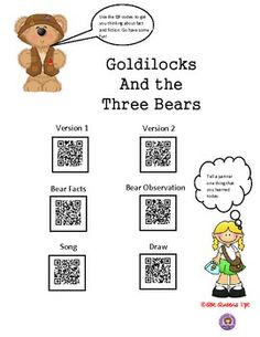 FACT OR FICTION WITH GOLDILOCKS & THE THREE BEARS USING QR CODES -K-2nd $ K-4th $ Good way for students to learn about fact and fiction!  Great for differentiated instruction, early finishers, workshops, and much more.  QR QUEENS