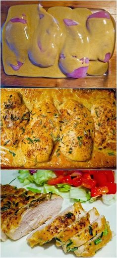 Worlds Best Chicken 4 boneless, skinless chicken breasts 1/2 cup Dijon mustard 1/4 cup maple syrup 1 tablespoon red wine vinegar Salt & pepper Rosemary Preheat oven to 425 degrees. In a small bowl, mix together mustard, syrup, and vinegar. Place chicken breasts into 9×13 greased baking dish. Season with salt & lots of pepper. Pour mustard mixture over chicken. Make sure each breast is coated. Bake for about 30-40 minutes. Season with chopped rosemary.