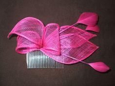 Hot Pink Sinamay Fascinator Hat