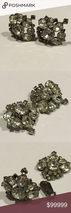 "Coming Soon - Vintage Rhinestone Clip On Earrings Fashion/Costume Earrings.  Metal/Stones Unknown. Years of purchased jewelry which has a history that I am unaware of so if you have allergies, keep that in mind. Always clean purchased jewelry.  Please ask all questions before purchasing. Good Used Condition - fading/discoloration of metal.  Sold ""As Is"".  Wear Consistent with vintage Condition. Please remember, the pictures are your description, too, so please look at all of them. Sparkles…"
