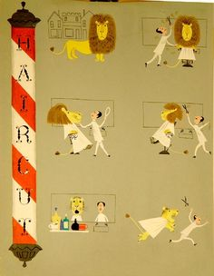 """""""Haircut"""" from The Animal Fair Illustrated by Alice & Martin Provensen available at the R. Michelson Galleries"""