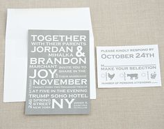 Bold Typography Wedding Invitation