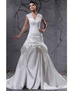Fit-and-flare Short Sleeves Satin Tulle Applique Modest Wedding Dress   LynnBridal.com