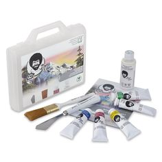 Shop Bob Ross Basic Paint Set at Blick. The Set includes 5 colors in oz. liquid white tube, painting knife, and landscape brush. Simple Oil Painting, The Joy Of Painting, Popular Paintings, Most Famous Paintings, Bob Ross Liquid White, Bob Ross Landscape, Beautiful Landscape Paintings, Oil Painting Techniques, Titanium White