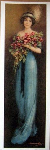 Art Print Christina Tall Victorian Lady in Blue w Roses Vtg Repro Yardlong 12x35 | eBay