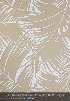 Southwind wallpaper from Meg Braff Designs in sand on white