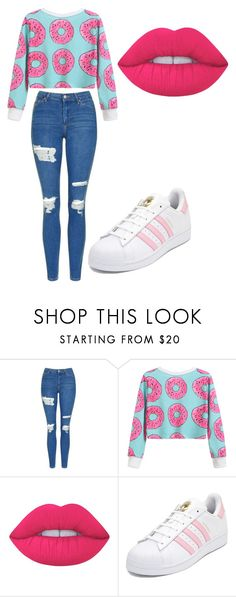 """Untitled #178"" by cruciangyul on Polyvore featuring Topshop, Lime Crime and adidas"