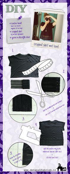 Zelf kleding maken: DIY cropped shirt met kant. Complete tutorial!