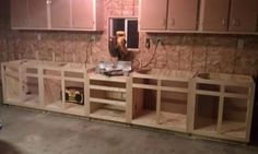 Long bench with miter saw station: