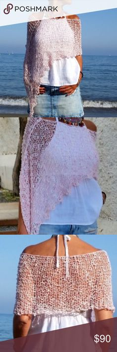 💕FIRM💕Handmade Knitted Ponchofits up to 42DD My new creation hand knitted poncho made from cotton and premium acrylic.  Lovely, Delicate, Soft, Light, Feminine, Beautiful – all of these perfectly describe this elegant summer time poncho.  You can wear with a jeans and with a dress or a skirt on the wedding or on evening party.  One size fits all.  Gentle/delicate wash in machine or hands. Dry a flat. Other